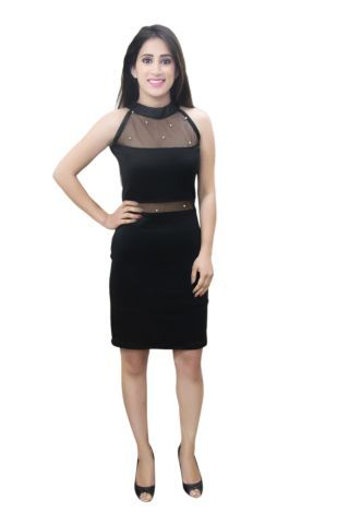 Solid Black colour Bodycon Net Dress with pearl embellishment
