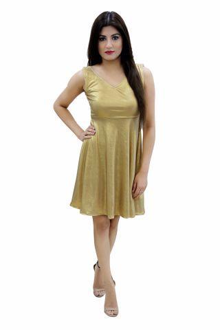 0f074afcc7 Shimmer Gold Skater Dress