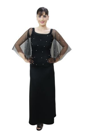 Black colour pearl embellished maxi dress