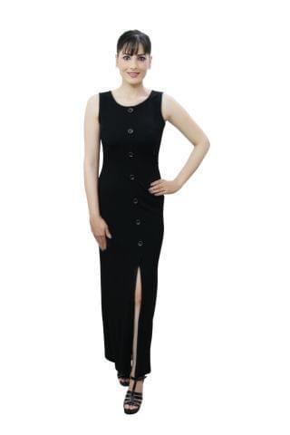 Black colour high slit maxi dress