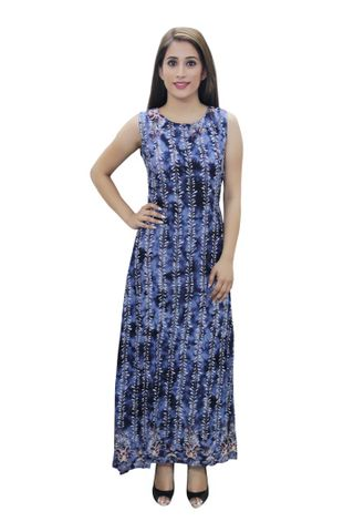 Blue Floral Printed A- Line Fusion Dress