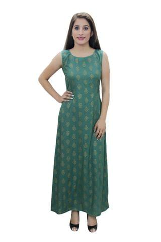 Green Printed A- Line Fusion Dress