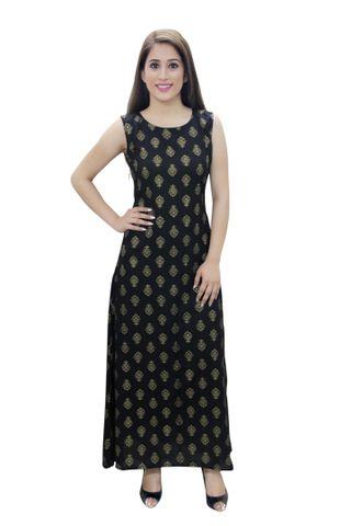 Blue Jhumka Printed A- Line Fusion Dress