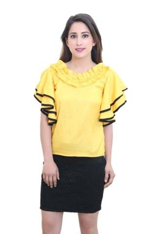 Solid Yellow Top With Double Flared Sleeves