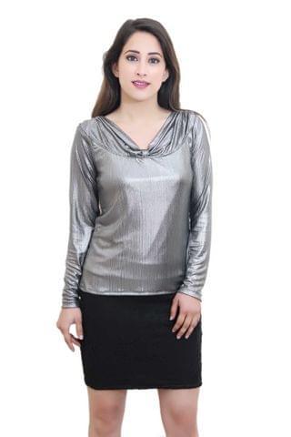 Solid Silver Partywear Top