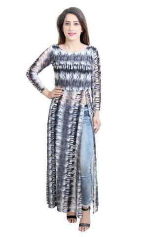 Grey Color Printed Net Maxi Top With Slit