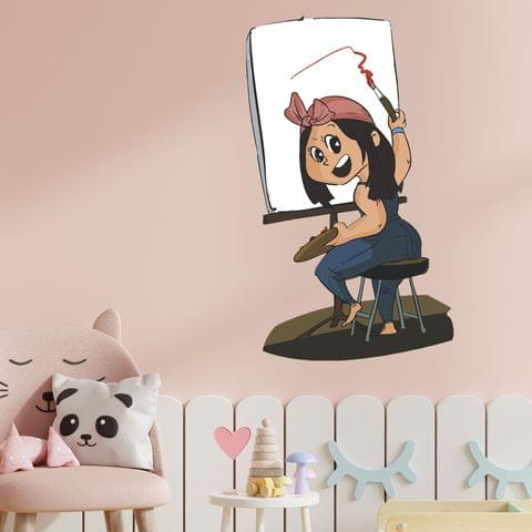 "DIY Wall Stickers Girl Painter for Home Décor (24""X18"")"