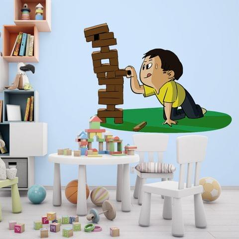"DIY Wall Stickers Boy Playing Jenga for Home Décor (24""X18"")"