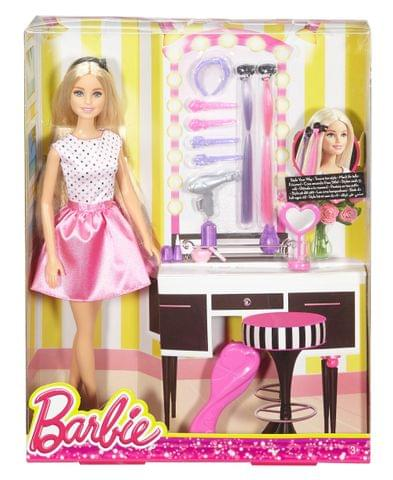 BARBIE DOLL AND PLAYSET WITH HAIR STYLING ACCESSORIES