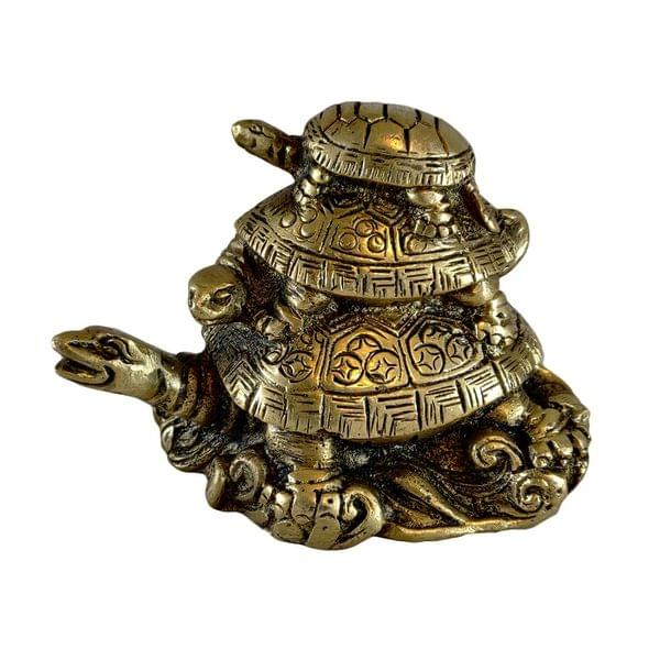 3-Tier Tortoise Statue in Pure Brass (Proudly - Made In India)