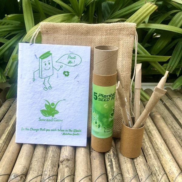 Jute Bag Collection: 1 Plantable Diary and 5 Plantable Paper Pens in a Re-usable Stationary Box