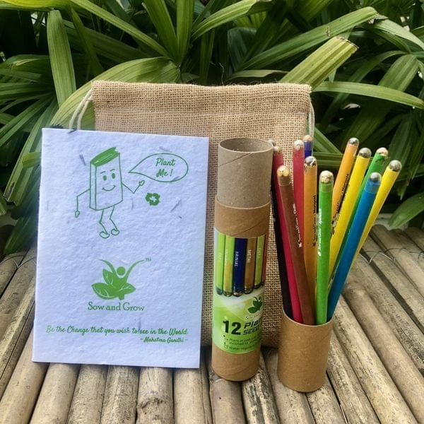 Jute Bag Collection: 1 Plantable Diary and 12 Plantable Pencil Combo in a Re-usable