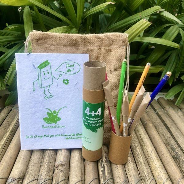 Jute Bag Collection: 1 Seed Diary, 4+4 Seed Pen and Pencil Combo