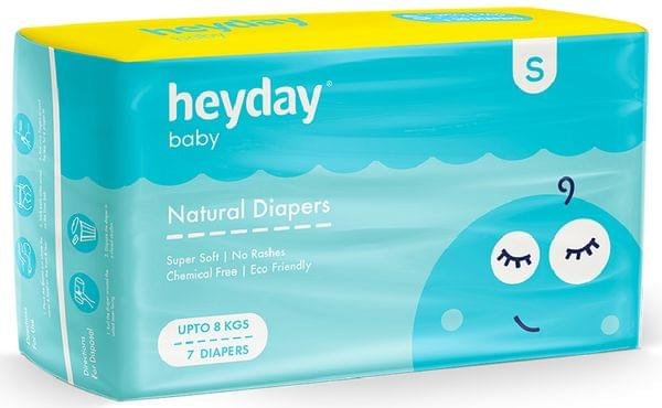 Natural & Organic Small  Baby Diapers (7 Diapers | Upto 8 kg)