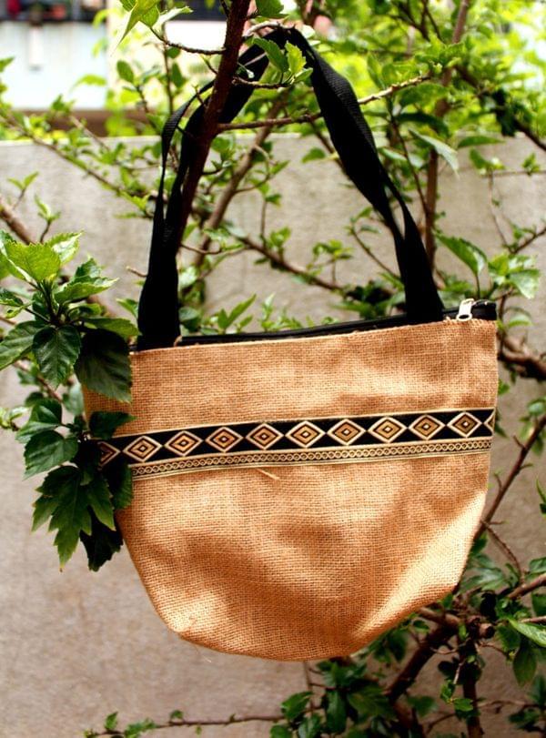 Designer Border Jute bag – 1 Pc