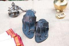 Aamdar Kapashi Black Design Men's Kolhapuri Chappal