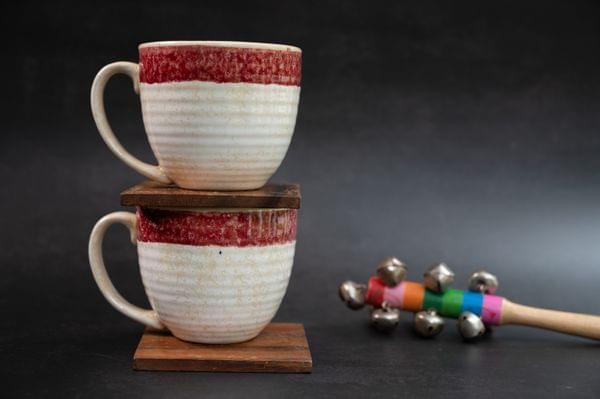 Italian MarbleCoffee Mug With Pink Rim Set of 2 Mugs – 1 Set